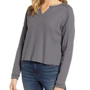 Project Social T Notched Waffle Knit Thermal Top